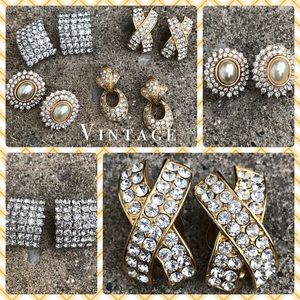 VINTAGE Rhinestone Earrings Lot Clip Classic Set